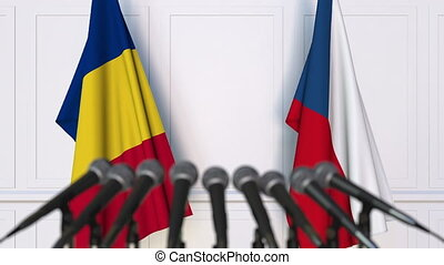 Flags of Romania and the Czech Republic at international...