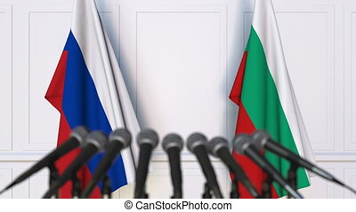 Flags of Russia and Bulgaria at international meeting or...