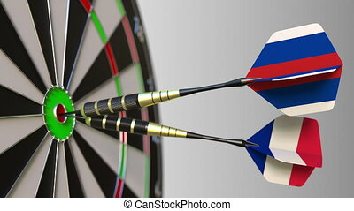 Flags of Russia and France on darts hitting bullseye of the target. International cooperation or competition animation