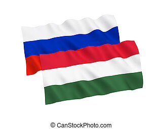 Flags of Russia and Hungary on a white background