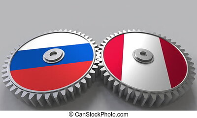 Flags of Russia and Peru on meshing gears. International...