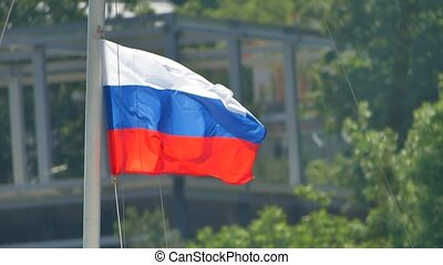 Flags of Russian Federation. Waving flags against blue sky