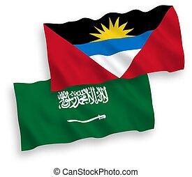 Flags of Saudi Arabia and Antigua and Barbuda on a white ...