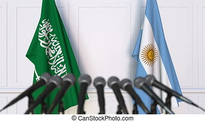 Flags of Saudi Arabia and Argentina at international meeting...