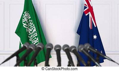 Flags of Saudi Arabia and Australia at international meeting...