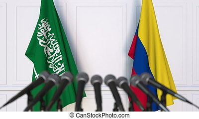 Flags of Saudi Arabia and Colombia at international meeting...