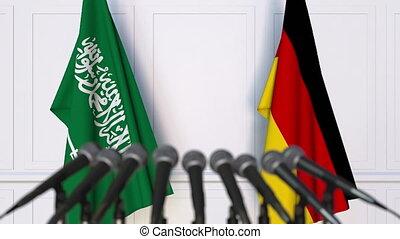 Flags of Saudi Arabia and Germany at international meeting...