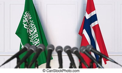 Flags of Saudi Arabia and Norway at international meeting or...