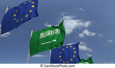 Flags of Saudi arabia and the European Union at...