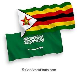 Flags of Saudi Arabia and Zimbabwe on a white background - ...