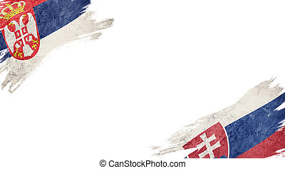 Flags of Serbia and?Slovak Republic on White Background