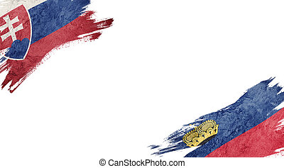 Flags of Slovakia and Liechtenstein on white background