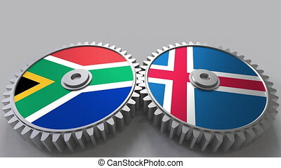 Flags of South Africa and Iceland on meshing gears....