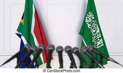 Flags of South Africa and Saudi Arabia at international...