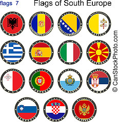 Flags of South Europe. Flags 7.