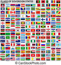 Flags of Sovereign States - Vector set of Flags of world...