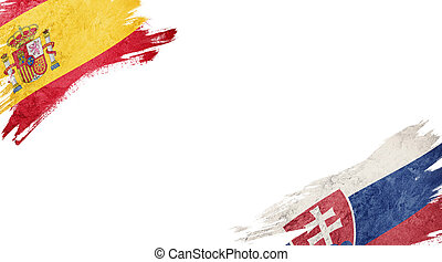 Flags of Spain and?Slovak Republic on White Background