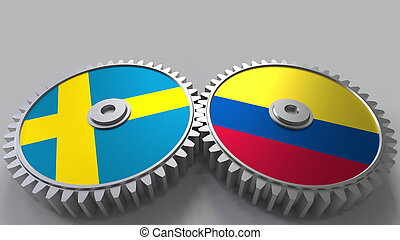 Flags of Sweden and Colombia on meshing gears. International cooperation conceptual 3D rendering