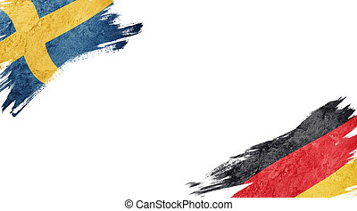 Flags of Sweden and Germany on white background