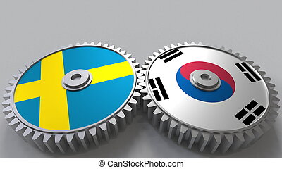 Flags of Sweden and Korea on meshing gears. International cooperation conceptual 3D rendering