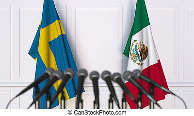 Flags of Sweden and Mexico at international meeting or conference. 3D rendering