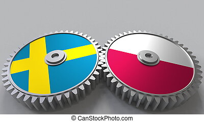 Flags of Sweden and Poland on meshing gears. International cooperation conceptual 3D rendering