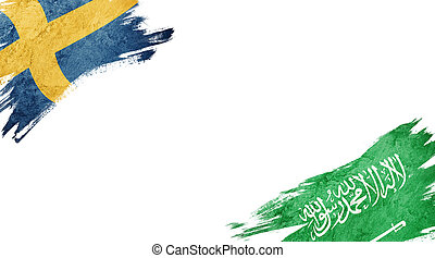 Flags of Sweden and Saudi Arabia on white background