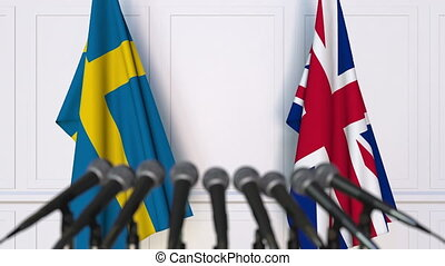 Flags of Sweden and The United Kingdom at international...