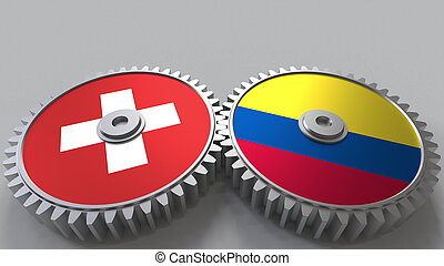 Flags of Switzerland and Colombia on meshing gears. International cooperation conceptual 3D rendering