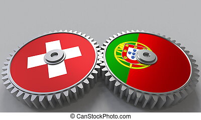 Asia pacific trade agreement members flags on gears clip art flags of switzerland and portugal on meshing gears international cooperation conceptual 3d rendering platinumwayz