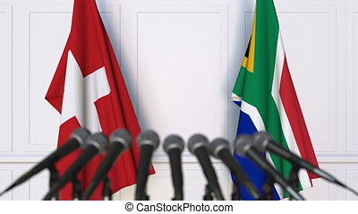 Flags of Switzerland and South Africa at international...