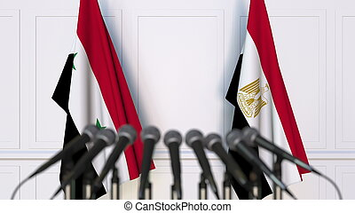 Flags of Syria and Egypt at international meeting or conference. 3D rendering