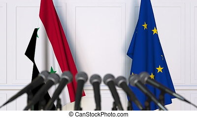 Flags of Syria and the European Union at international...