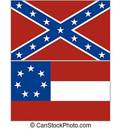 Flags of the Confederacy during the American Civil War. The illustration on a white background.