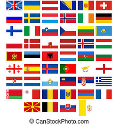 Flags of the countries of Europe - Badges with flags of...