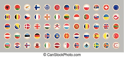 Flags of the countries of Europe.