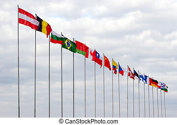 Flags of the countries of the world fluttering on a wind