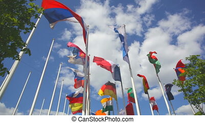 Flags of the different countries
