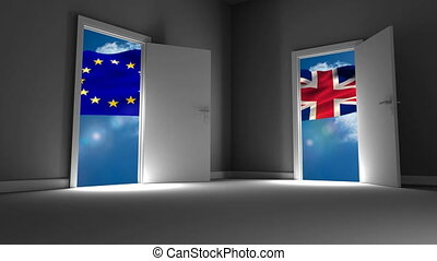 Flags of the EU and UK waving
