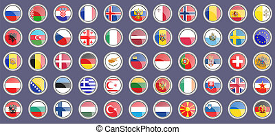 Flags of the Europe. Set of icons.
