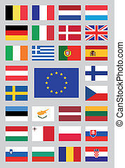 Form of the 28 flags of the european union