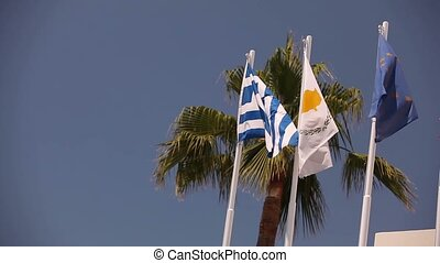 Flags of the European Union, Greece, Cyprus, the city of Aya...