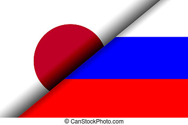 Flags of the Japan and Russia divided diagonally