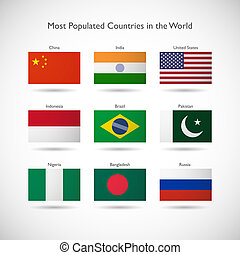 Flags of the most populated countries in the world