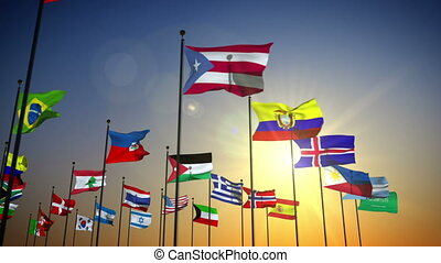 1080p stock video the Nations flags against the sky with camera panning by slowly