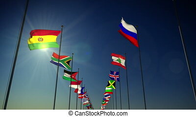 Flags of the Nations - 1080p stock video the Nations...