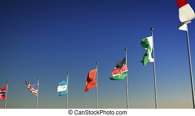 1080p stock video the Nations flagsagainst the sky with camera panning by slowly
