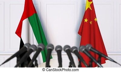 Flags of the UAE and China at international meeting or...
