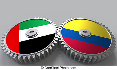 Flags of the UAE and Colombia on meshing gears. International cooperation conceptual 3D rendering