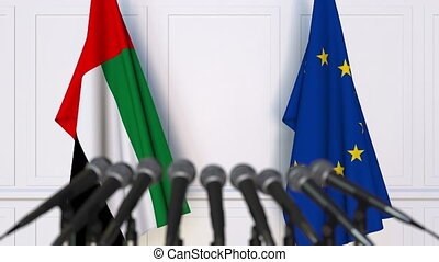 Flags of the UAE and the European Union at international...